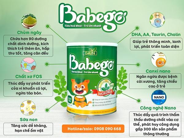 Sữa Babego giúp bé tăng cân