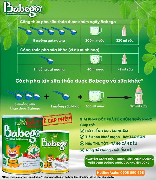 Hướng dẫn pha sữa thảo dược Babego và sữa công thức khác