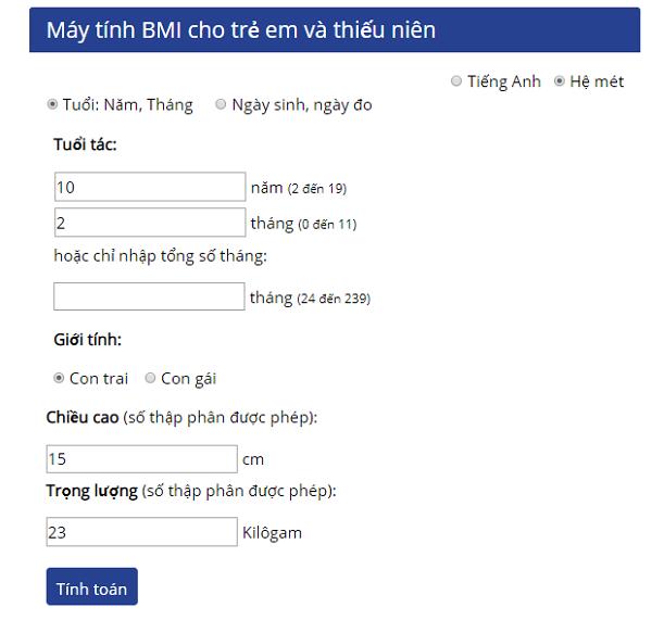 Máy tính chỉ số BMI cho thanh thiếu niên