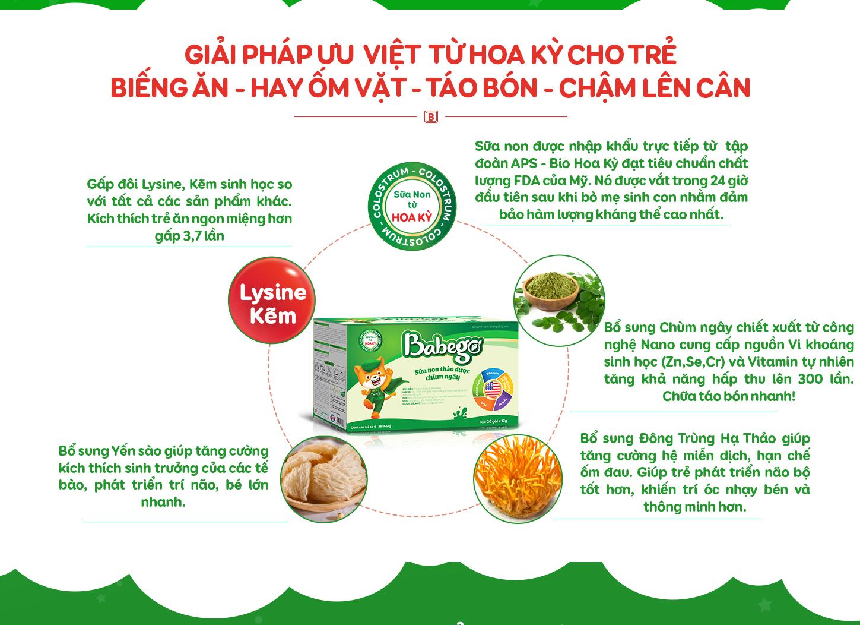 Sữa non Babego có các thành phần Quý hiếm